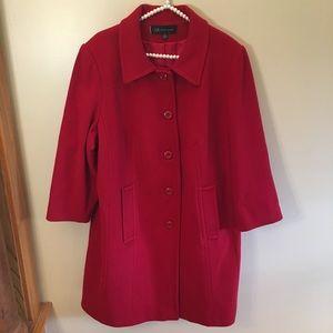 Anne Klein red wool button up coat 2x